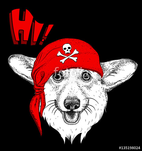 468x500 Dog In A Pirate Bandana. Vector Illustration Stock Image And