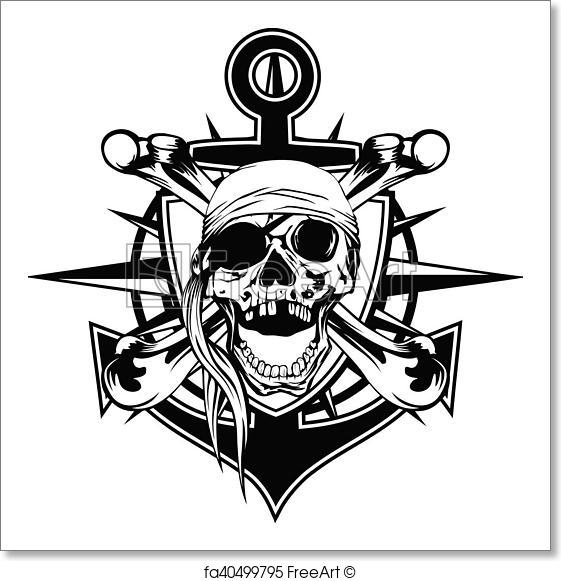 561x581 Free Art Print Of Emblem Skull Bandana. Vector Illustration Pirate