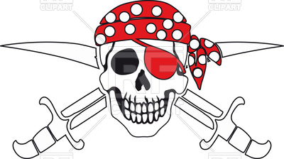 400x224 Jolly Roger Pirate In Bandana Vector Image Vector Artwork Of