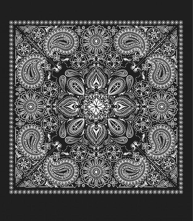 626x719 Paisley Bandana Vector Vector Premium Download