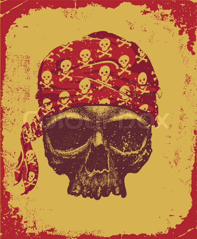 662x800 Pirate Skull With Bandana Vector Illustration Stock Vector
