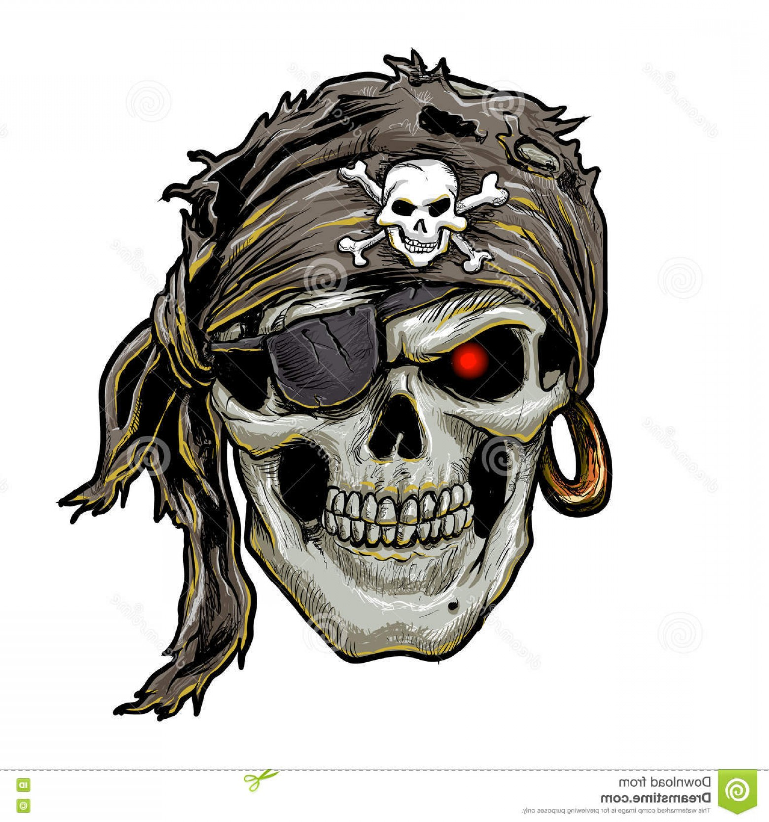 1560x1668 Stock Illustration Pirate Skull Black Bandana Skull Art Vector