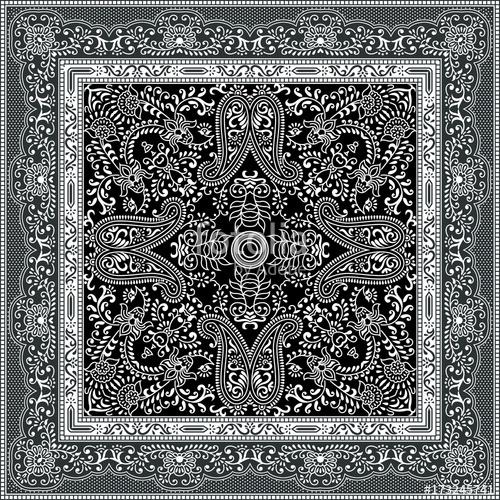 500x500 Black Paisley Bandana Pattern Stock Image And Royalty Free Vector