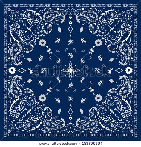 450x470 Blue Bandana Pattern Clipart