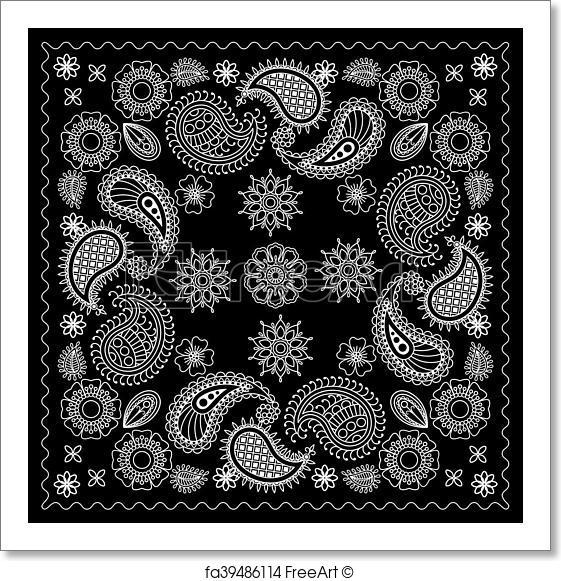 561x581 Free Art Print Of Black And White Bandana Print. Black And White