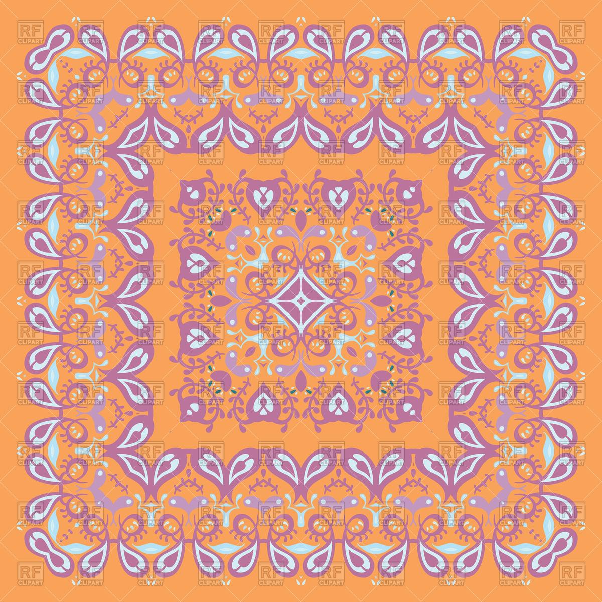 1200x1200 Orange Bandana Or Carpet Pattern Vector Image Vector Artwork Of