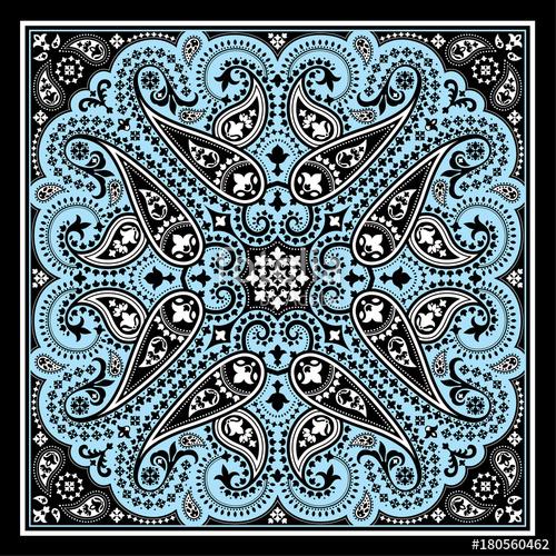 500x500 Vector Bandana Print With Paisley Ornament. Cotton Or Silk