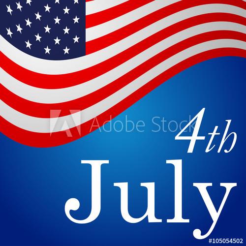 500x500 Icono Plano 4th July En Bandera Usa