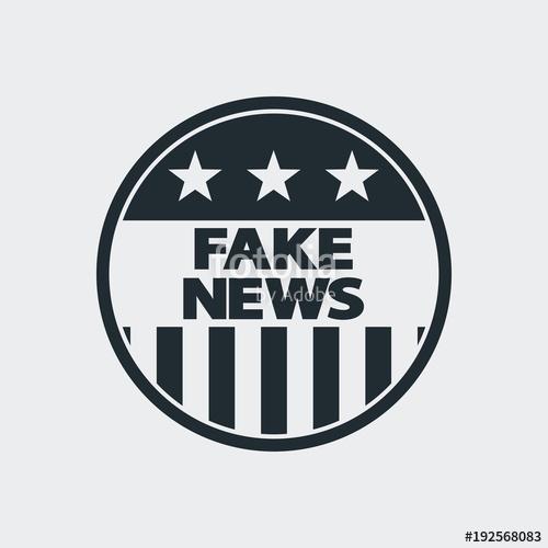500x500 Icono Plano Fake News En Circulo Bandera Usa En Fondo Gris Stock