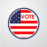 160x160 Icono Plano Vote Con Bandera Usa