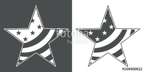 500x250 Icono Plano Estrella Con Bandera Usa