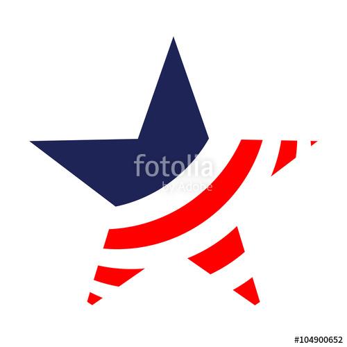 500x500 Icono Plano Estrella Con Bandera Usa En Fondo Blanco