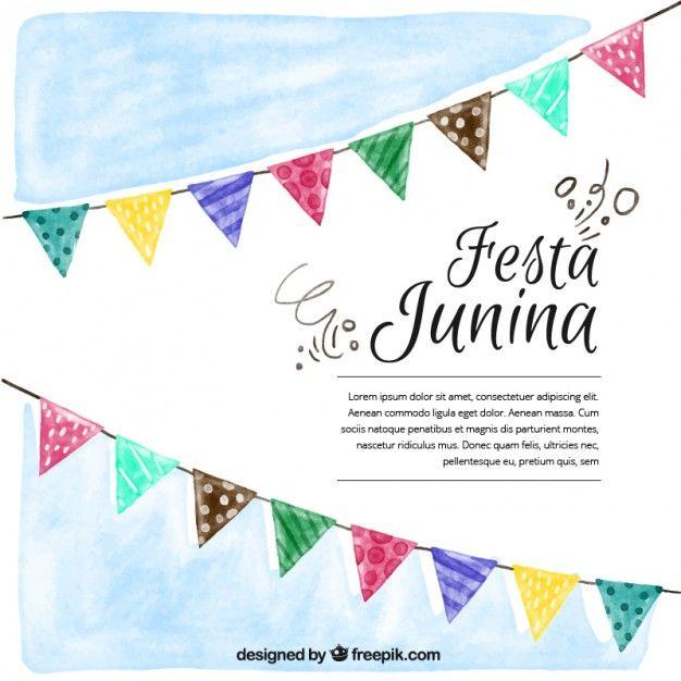 626x626 Fondo De Acuarela De Fiesta Junina Con Banderines Vector Gratis