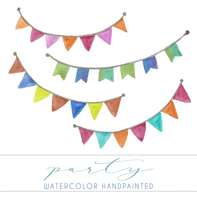 626x626 Watercolor Pennants Collection Vector Free Download