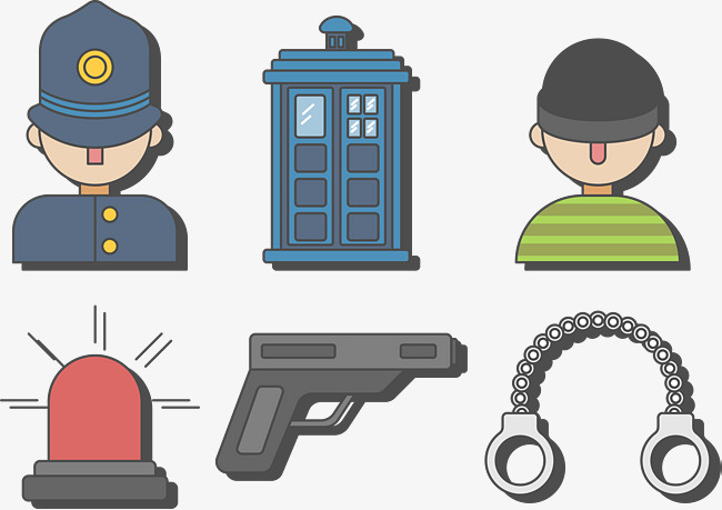 650x459 Police And Bandit Vector, Thief, Warning Light, Pistol Png And
