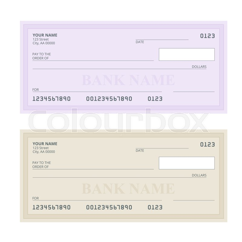 800x800 Bank Check With Modern Design. Flat Illustration. Cheque Book On