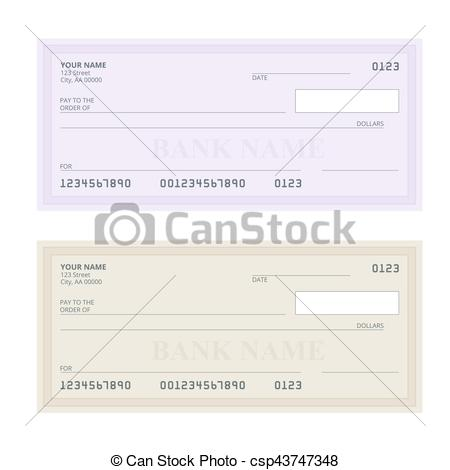 450x470 Bank Check With Modern Design. Flat Illustration. Cheque... Eps