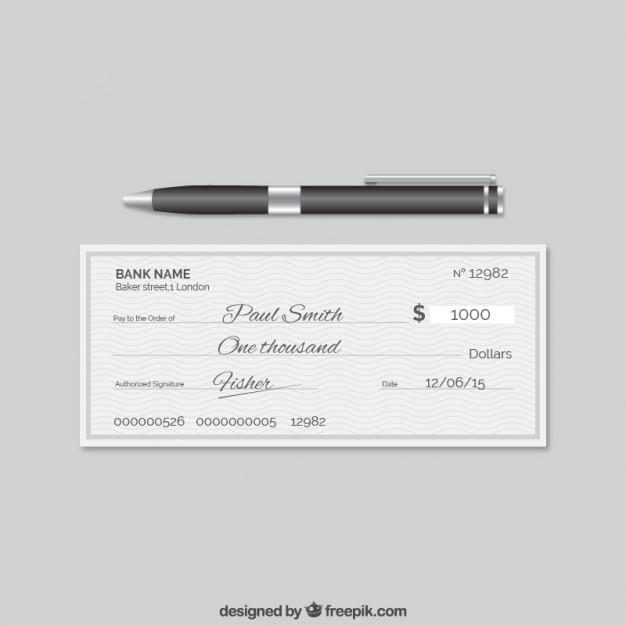 626x626 Elegant Bank Cheque Vector Free Download