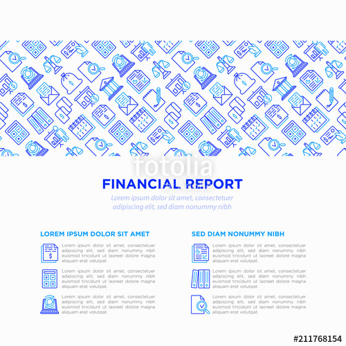 500x500 Financial Report Concept With Thin Line Icons Bank, Financial