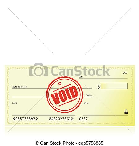 450x470 Void Bank Check Illustration Isolated Over A White... Clipart
