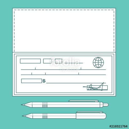 500x500 Bank Check, Bank Cheque . Stock Vector Illustration For Poster