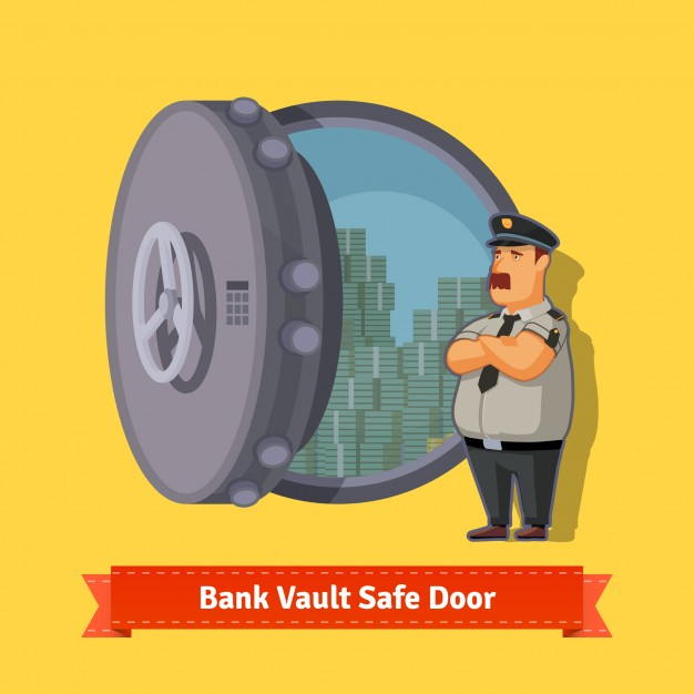 626x626 Bank Vault Room Safe Door With A Officer Guard Vector Free Download