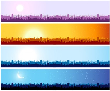 376x312 City Silhouette Banner Background Vector Ai,eps Format Free
