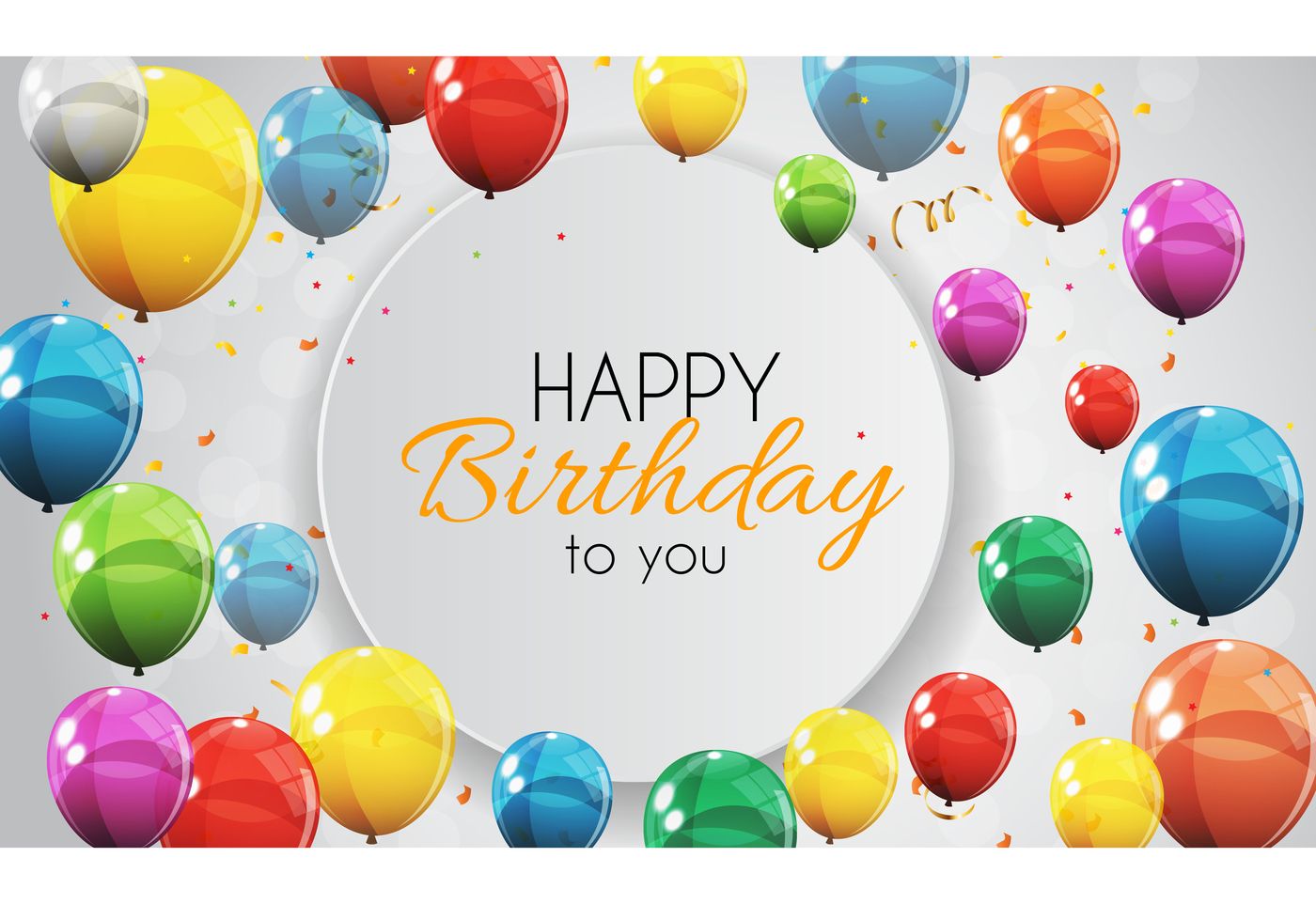 1400x962 Color Glossy Happy Birthday Balloons Banner Background Vector