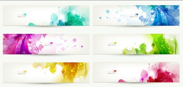 585x281 Free Set Of Clean Banner Templates With Colorful Leaf Backgrounds