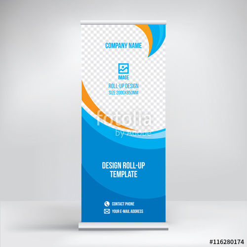 500x500 Roll Up Banner Design, Vector Background Stock Image And Royalty