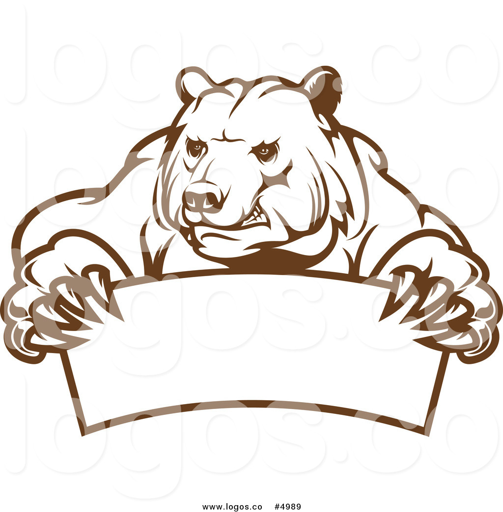 1024x1044 Royalty Free Vector Of A Brown Bear And Banner Logo By Vector