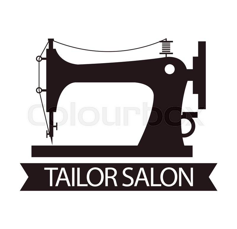 800x773 Tailor Salon Advertising Logo Vector Illustration. Silhouette Of