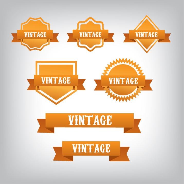 716x716 Vintage Orange Banners Clip Art Vector 82