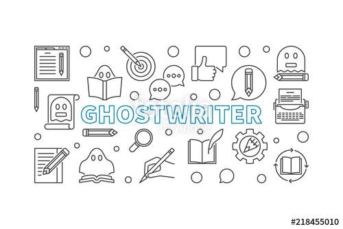 500x334 Ghostwriter Vector Horizontal Outline Banner Or Illustration