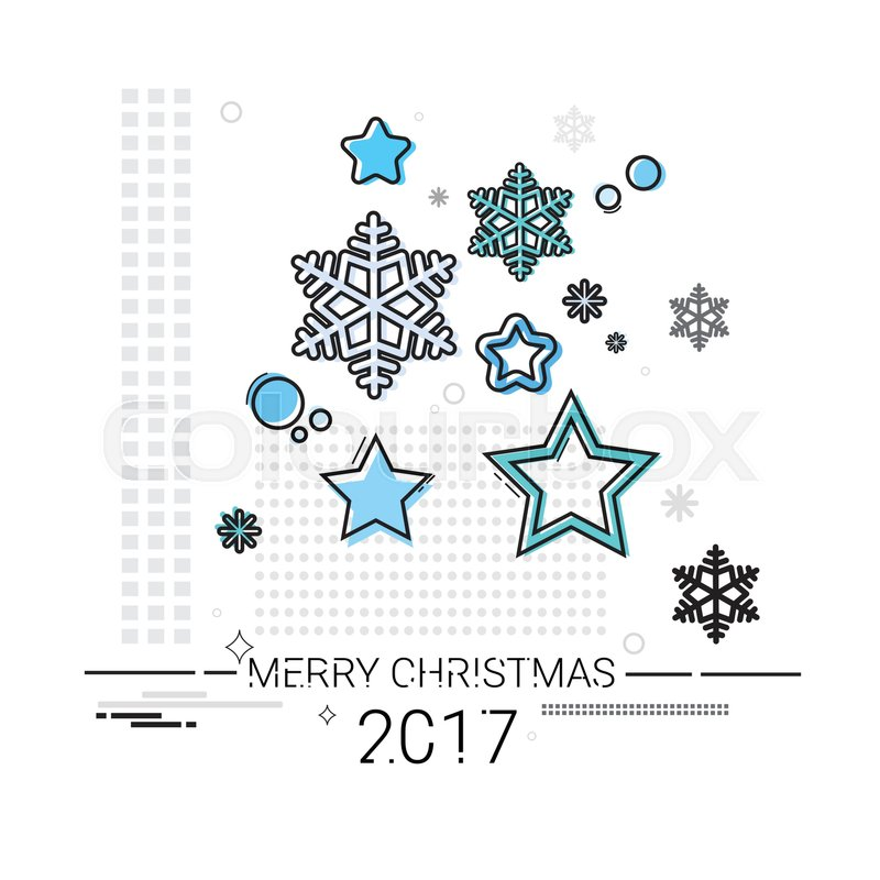 800x800 Merry Christmas Happy New Year Simple Line Sketch Banner Card