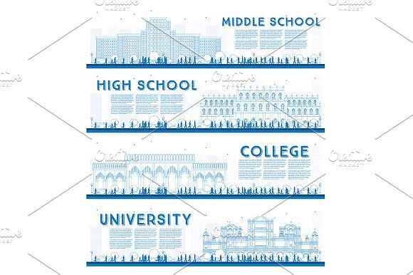 580x386 Outline Set Of University Outlines, University High School And