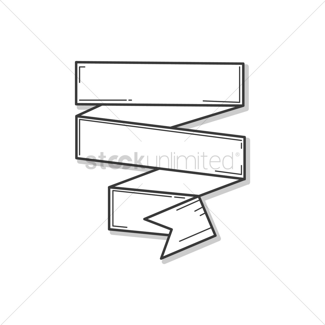 1300x1300 Ribbon Banner Outline Design Vector Image