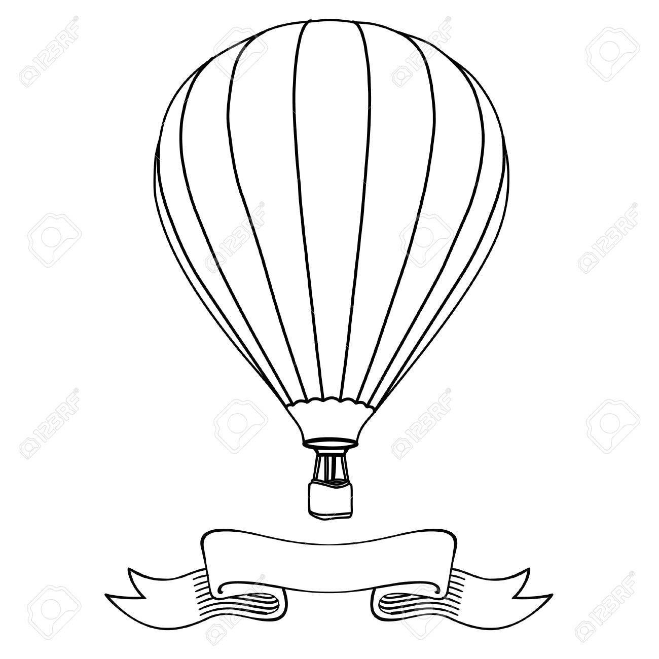 1300x1300 44108532 Hot Air Balloon In The Sky With Message On Banner Vector