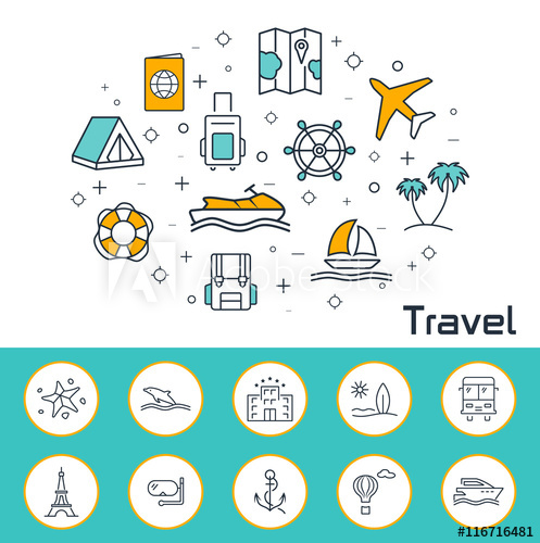 497x500 Travel Banner In Flat Style. Outline Vector Icons.