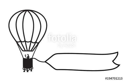 500x330 Vector Outline Hot Air Balloon With Banner Stock Image And