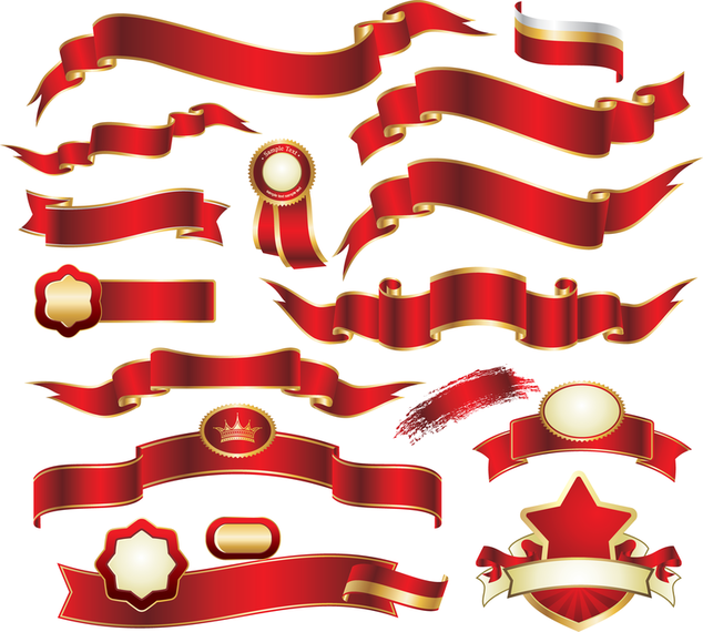 634x570 Red Banner Vector