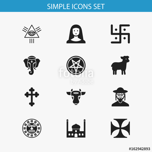 500x500 Set Of 12 Editable Religion Icons. Includes Symbols Such As