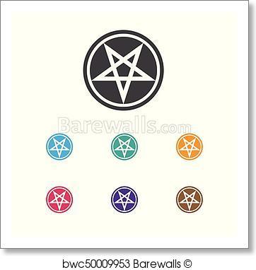 362x382 Art Print Of Vector Illustration Of Dyne Symbol On Pentagram Icon
