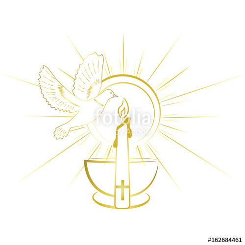 500x500 Baptism Sacrament Symbols. Gold And Simple Invitation Design