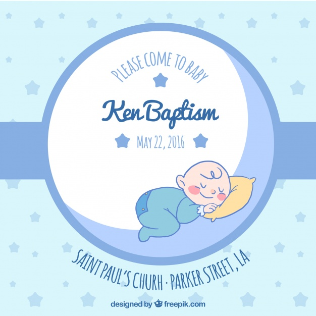 626x626 Blue Invitation For Baptism Vector Free Download