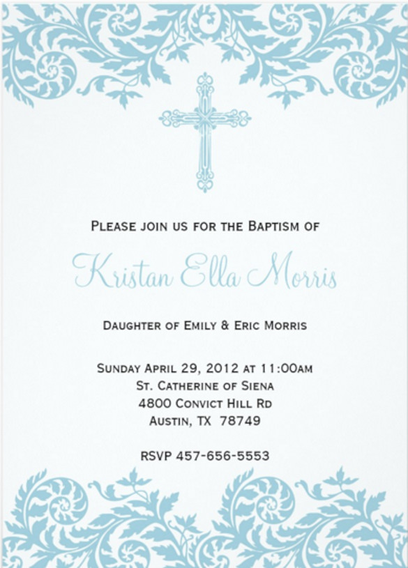585x815 Baptism Invitation Templates Free Sample, Example, Format