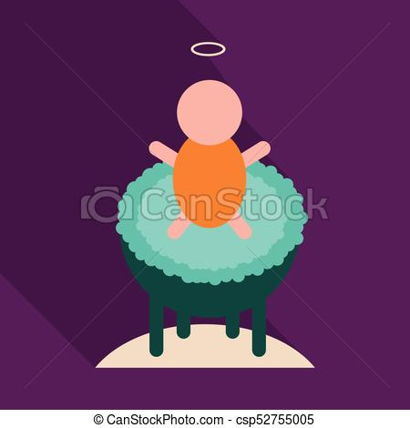 450x470 Child In Cradle . Boy Baptism Vector Clipart