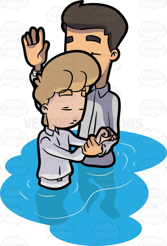 694x1024 A Man Being Prayed Over Before His Baptism Clipart By Vector Toons