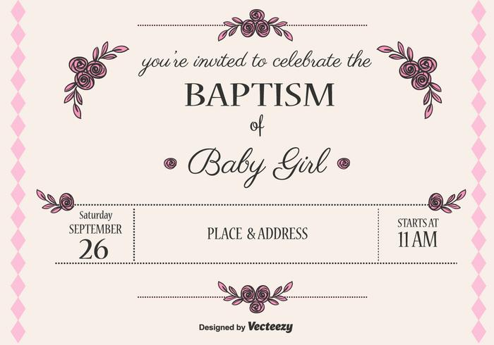 700x490 Baby Girl Baptism Vector Invitation Stock Images