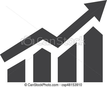 450x366 Growing Bar Graph Icon In Black On A White Background. Vector